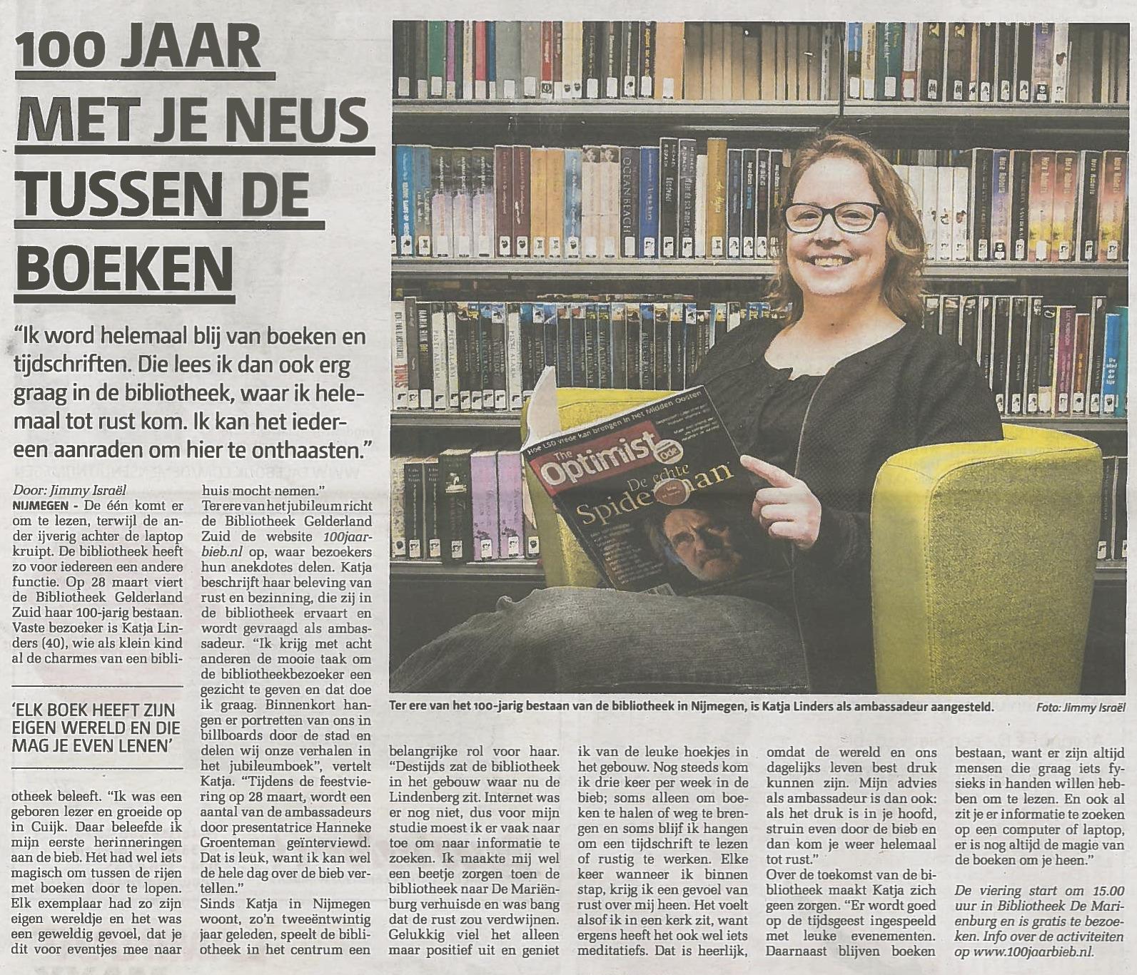 De Nijmegenaar artikel Katja bieb